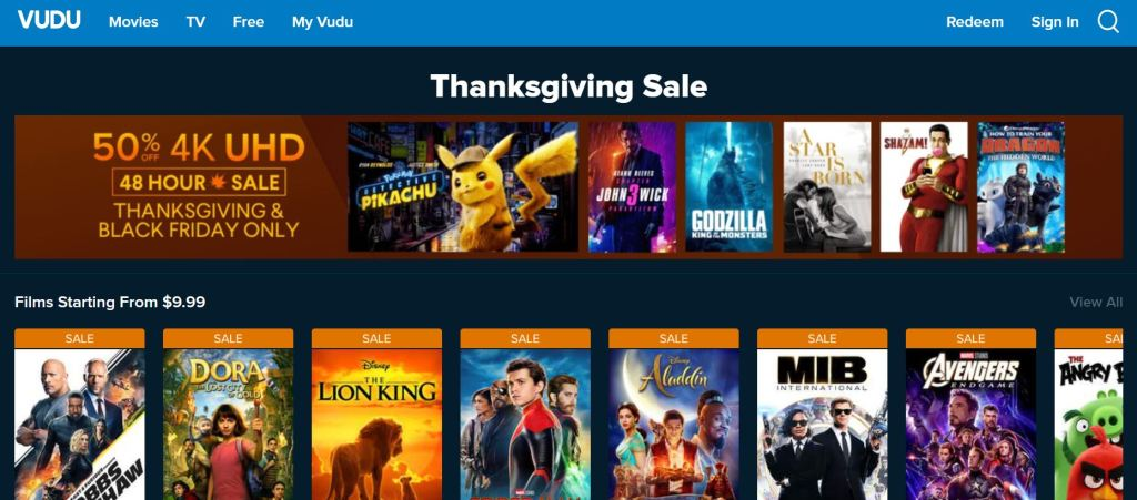 2019 Vudu Thanksgiving And Black Friday 4k Uhd 50 Off Buy Limited Time Offer Movies Movies Movies